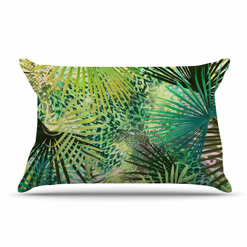 "Victoria Krupp ""Animal Jungles"" Green Teal Digital Pillow Sham"