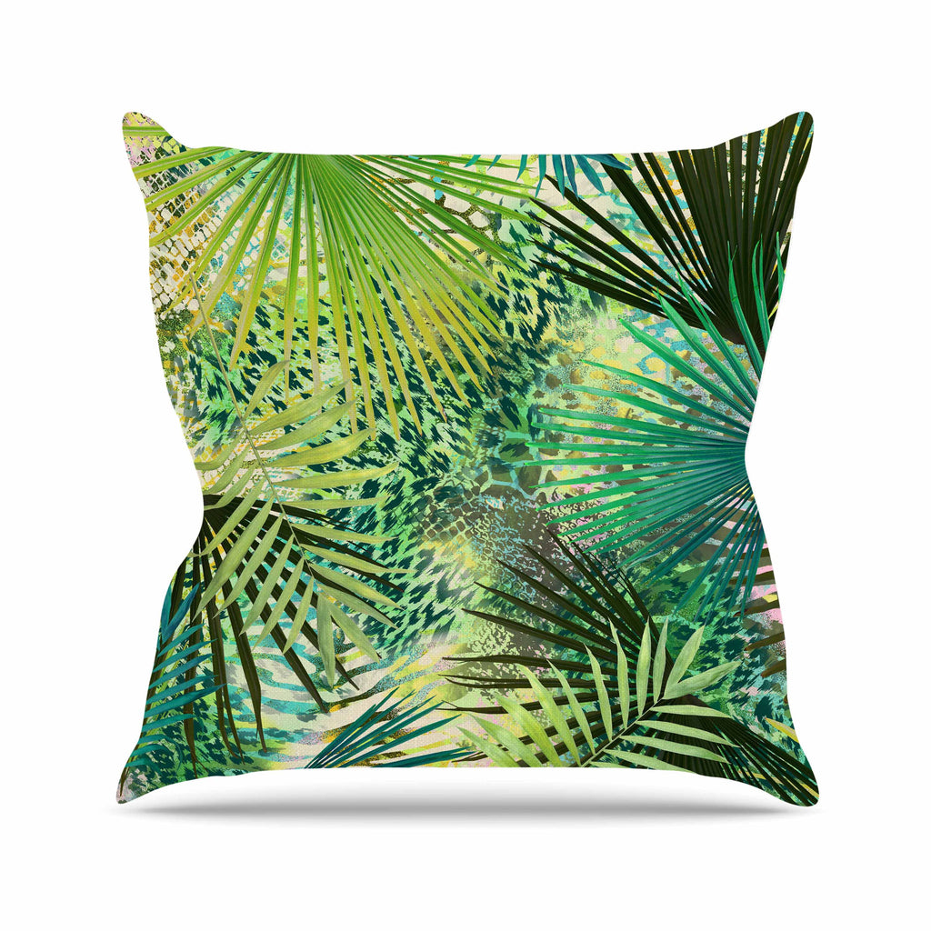 "Victoria Krupp ""Animal Jungles"" Green Teal Digital Outdoor Throw Pillow"