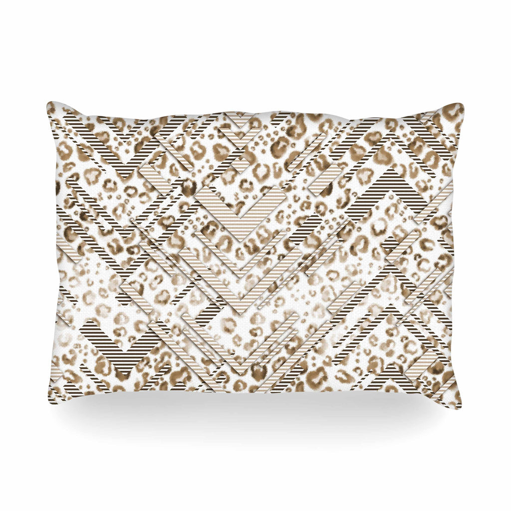 "Victoria Krupp ""Abstract Animal Chevron"" Beige White Digital Oblong Pillow"