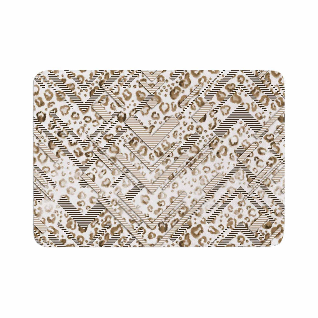 "Victoria Krupp ""Abstract Animal Chevron"" Beige White Digital Memory Foam Bath Mat"