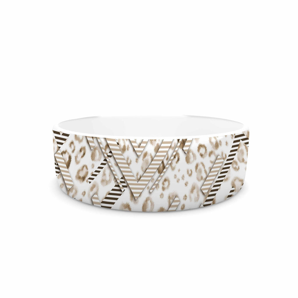 "Victoria Krupp ""Abstract Animal Chevron"" Beige White Digital Pet Bowl"