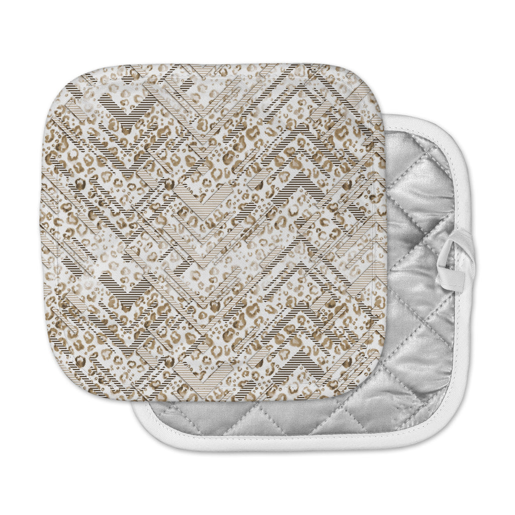"Victoria Krupp ""Abstract Animal Chevron"" Beige White Digital Pot Holder"