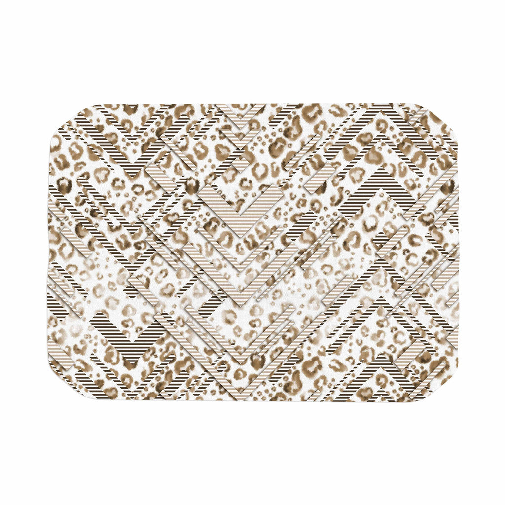 "Victoria Krupp ""Abstract Animal Chevron"" Beige White Digital Place Mat"