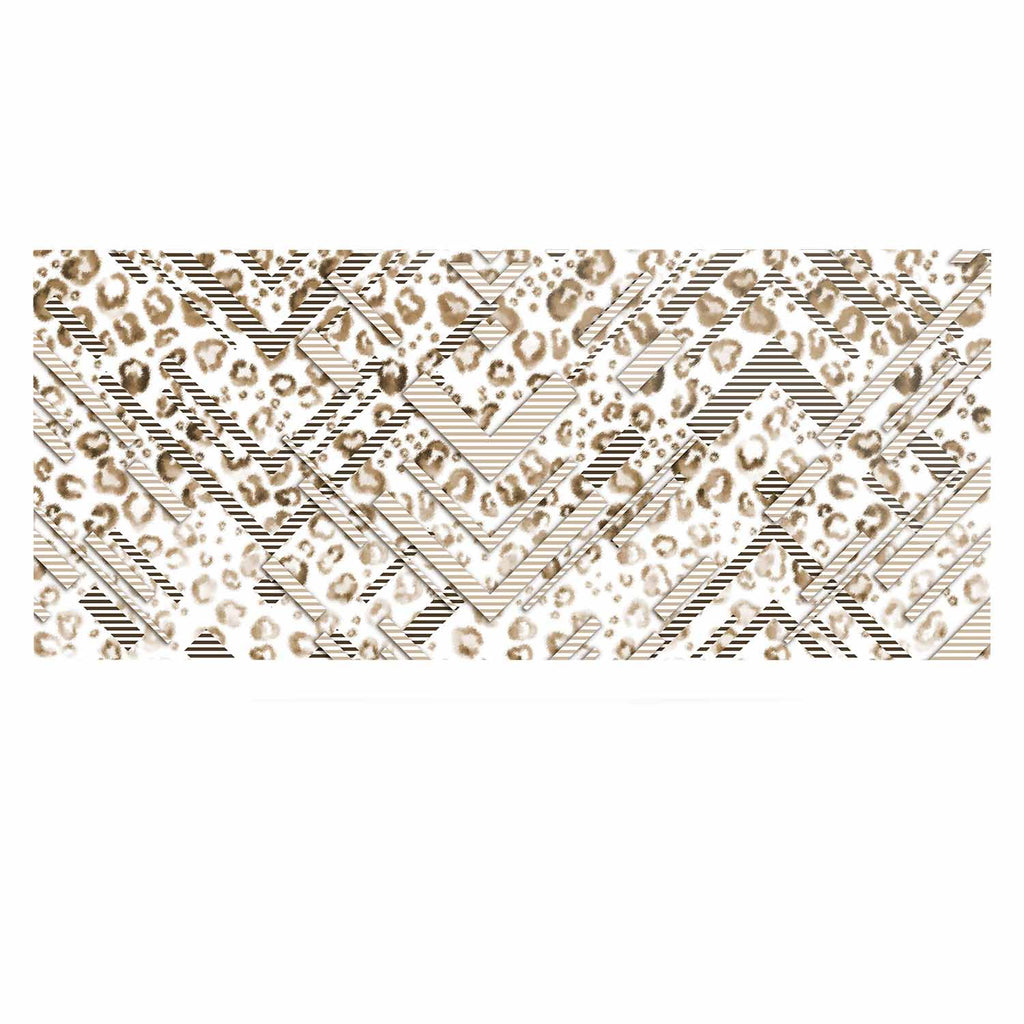 "Victoria Krupp ""Abstract Animal Chevron"" Beige White Digital Luxe Rectangle Panel"