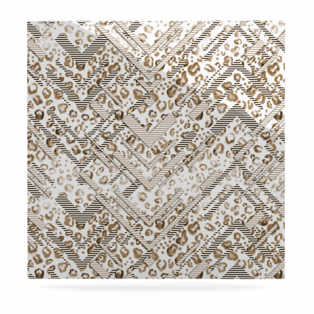 "Victoria Krupp ""Abstract Animal Chevron"" Beige White Digital Luxe Square Panel"
