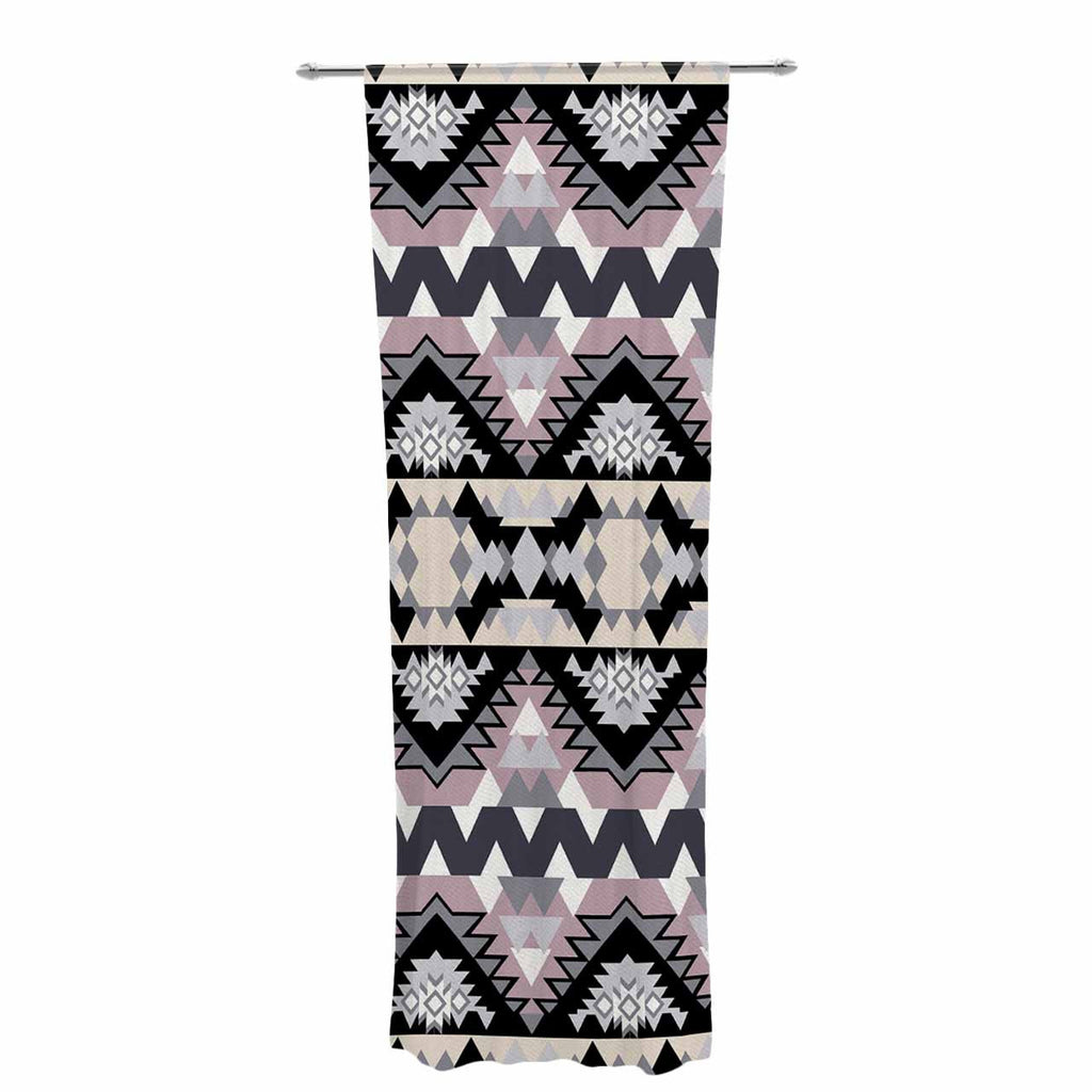"Victoria Krupp ""Nordic Ice"" Black Pastel Digital Decorative Sheer Curtain"