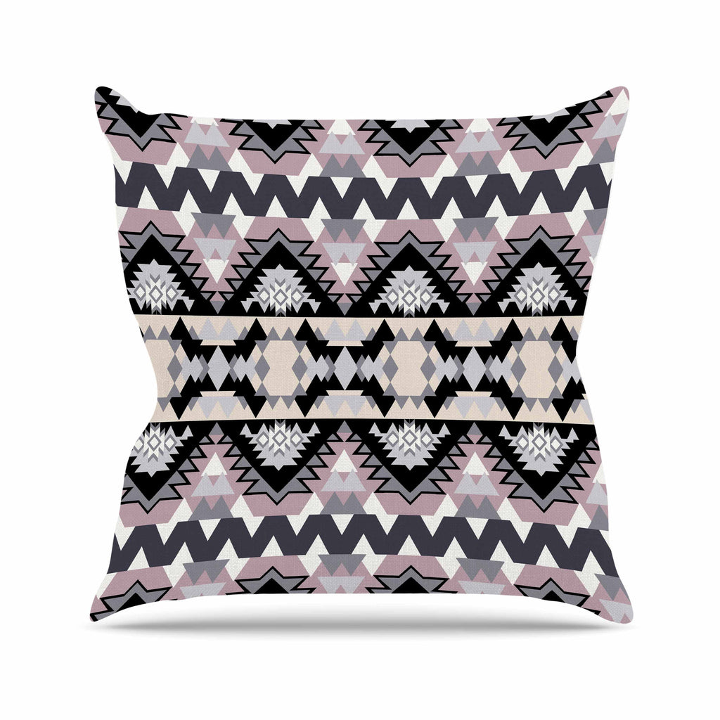 "Victoria Krupp ""Nordic Ice"" Black Pastel Digital Outdoor Throw Pillow"
