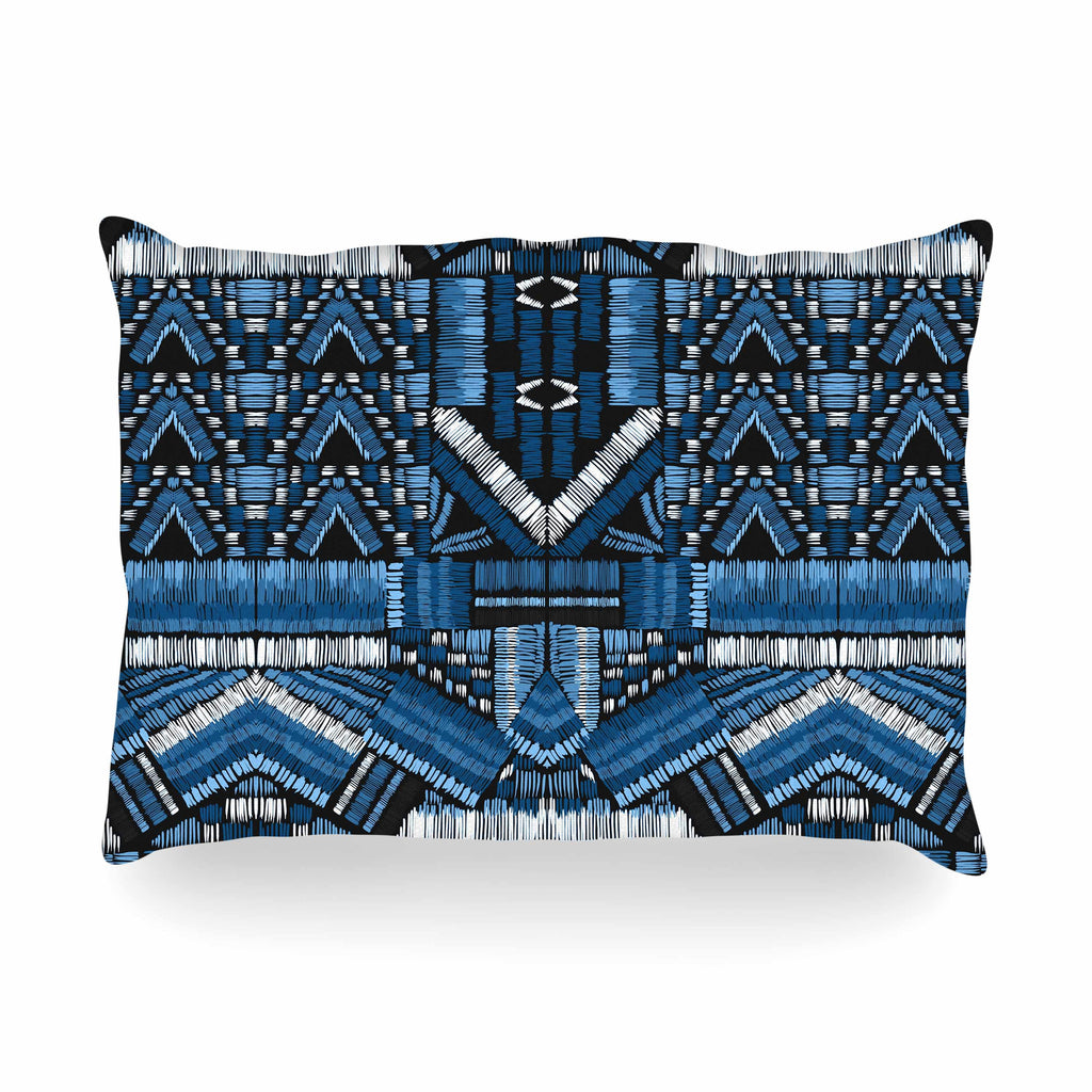 "Victoria Krupp ""Festival Geo"" Blue Black Illustration Oblong Pillow"