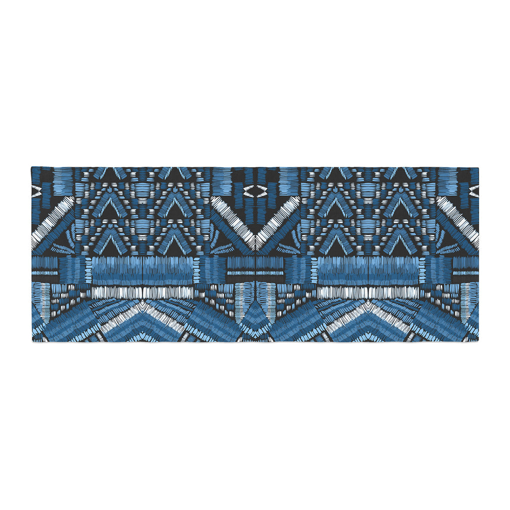 "Victoria Krupp ""Festival Geo"" Blue Black Illustration Bed Runner"