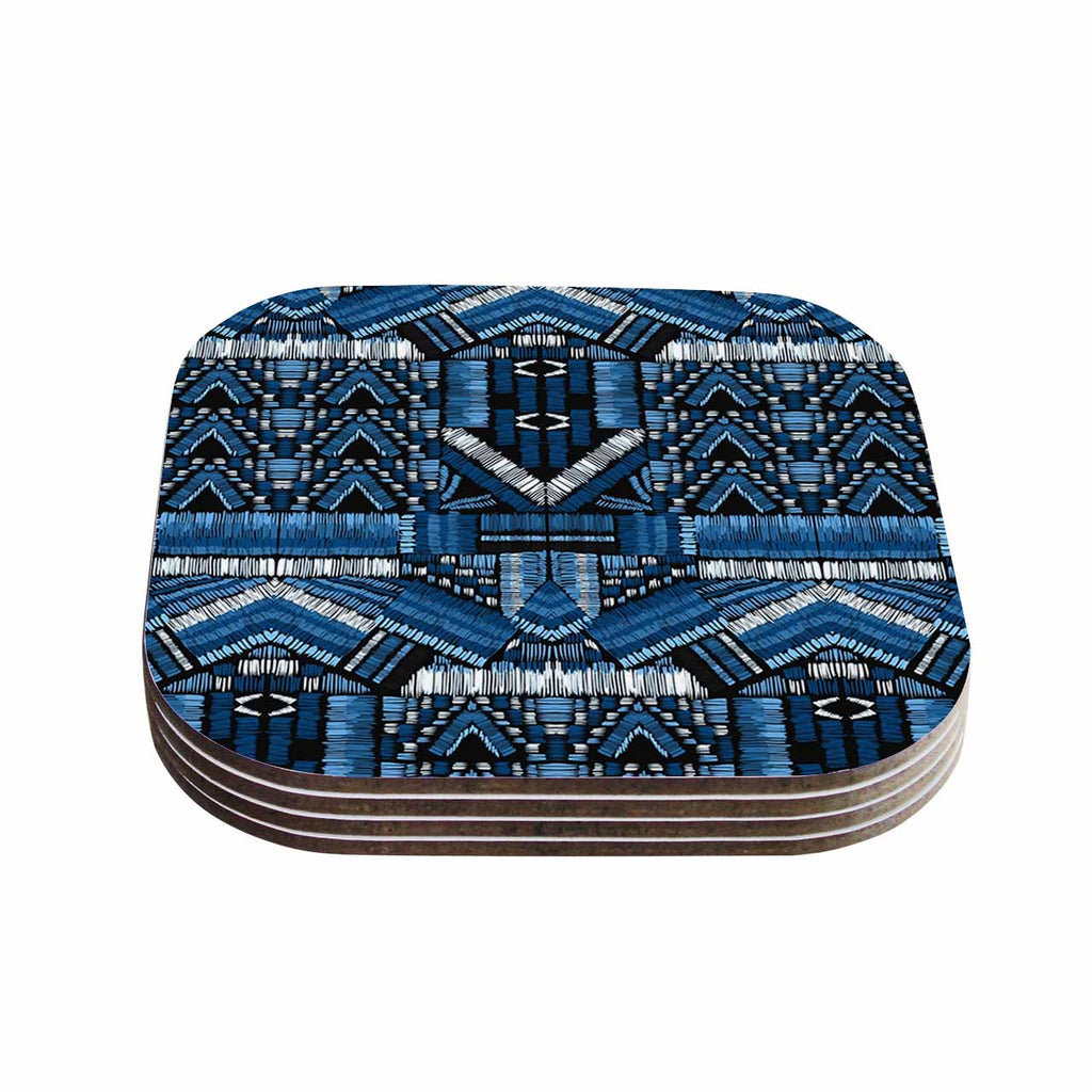 "Victoria Krupp ""Festival Geo"" Blue Black Illustration Coasters (Set of 4)"