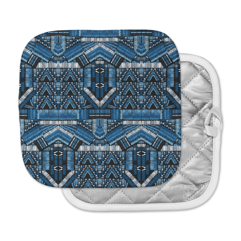 "Victoria Krupp ""Festival Geo"" Blue Black Illustration Pot Holder"