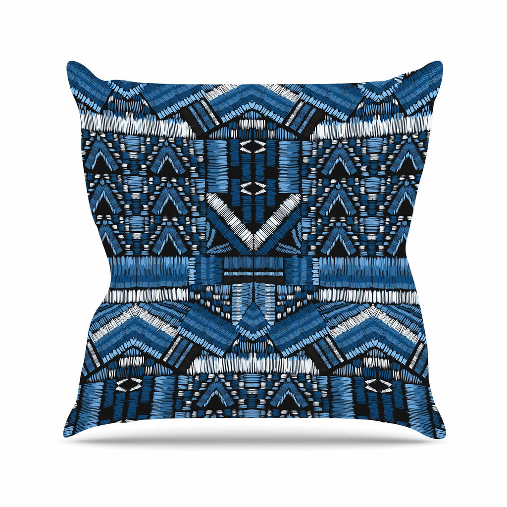 "Victoria Krupp ""Festival Geo"" Blue Black Illustration Throw Pillow"