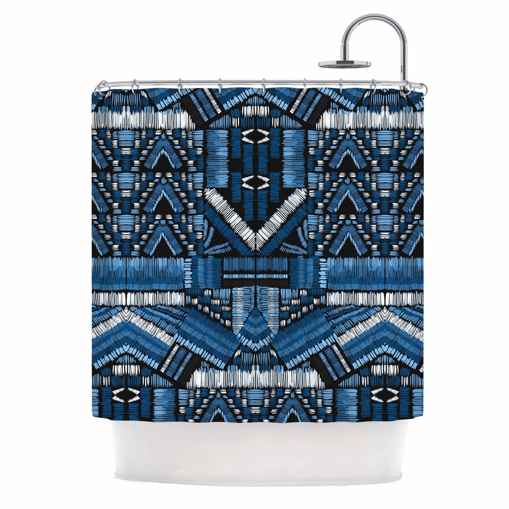 "Victoria Krupp ""Festival Geo"" Blue Black Illustration Shower Curtain"
