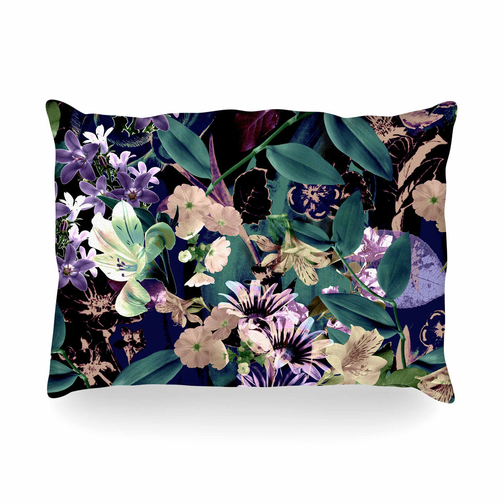 "Victoria Krupp ""Midnight Garden"" Black Multicolor Digital Oblong Pillow"