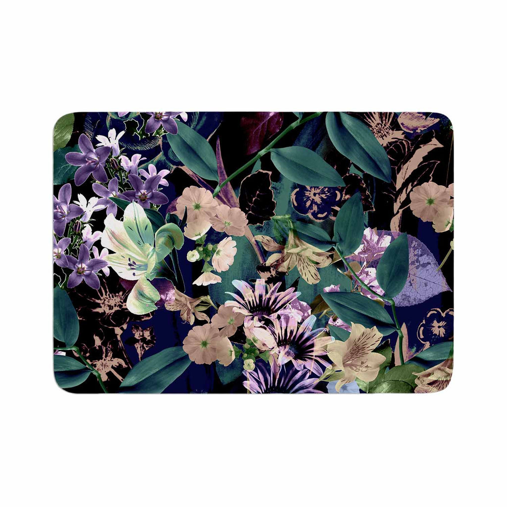 "Victoria Krupp ""Midnight Garden"" Black Multicolor Digital Memory Foam Bath Mat"