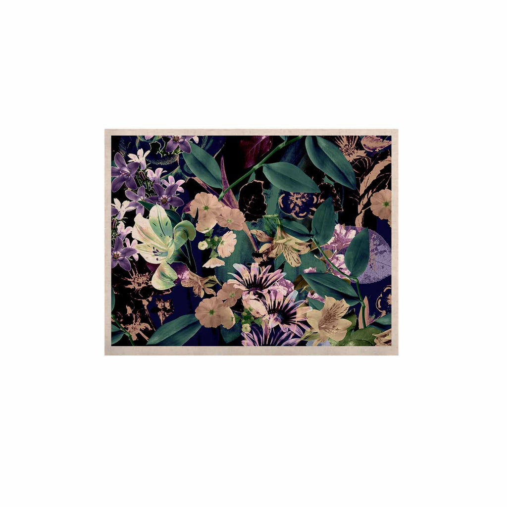 "Victoria Krupp ""Midnight Garden"" Black Multicolor Digital KESS Naturals Canvas (Frame not Included)"