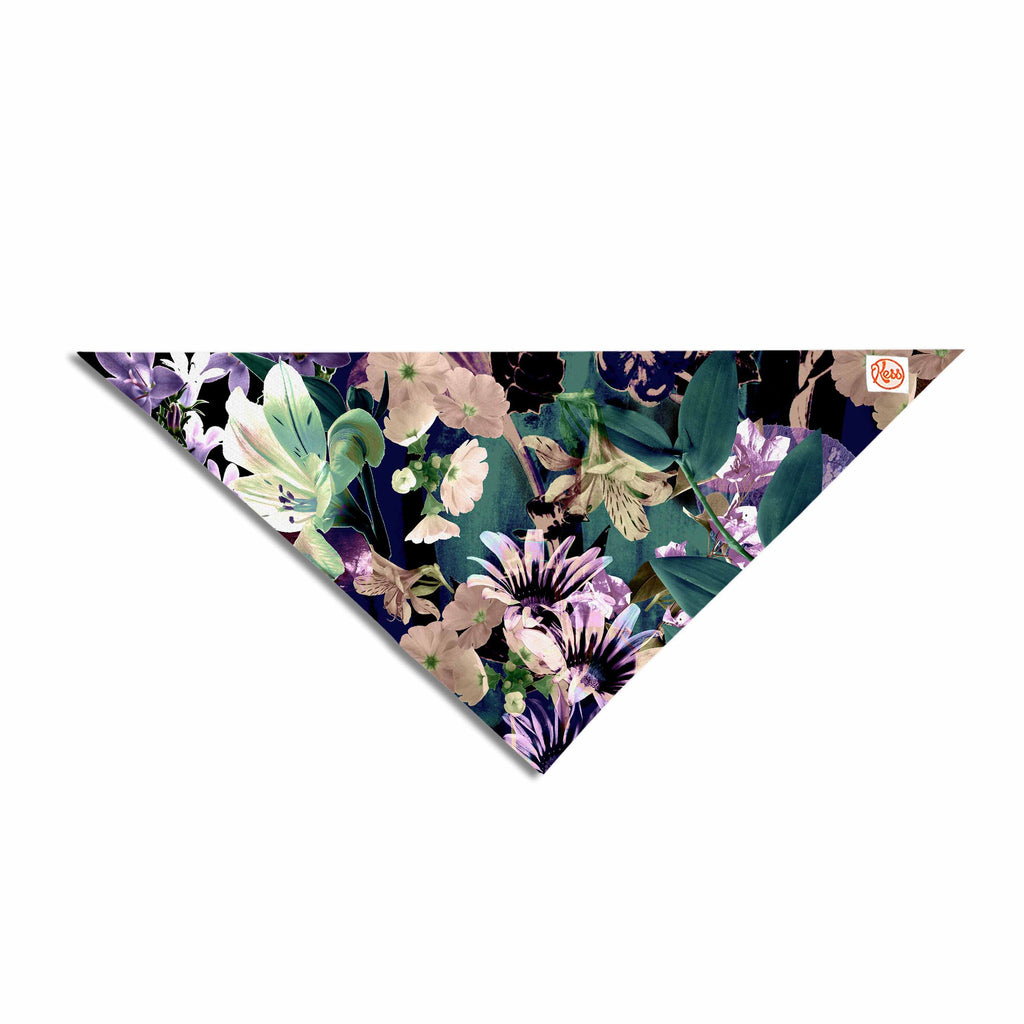 "Victoria Krupp ""Midnight Garden"" Black Multicolor Digital Pet Bandana"