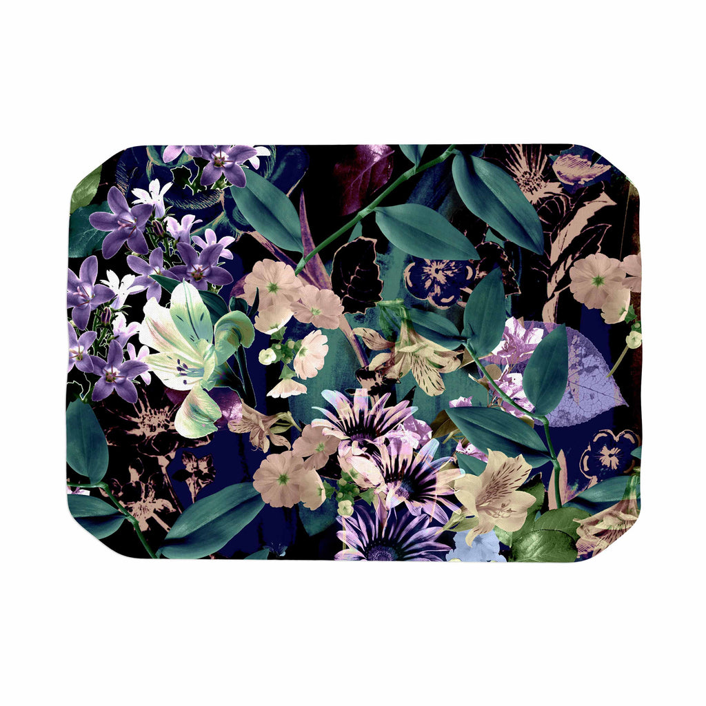 "Victoria Krupp ""Midnight Garden"" Black Multicolor Digital Place Mat"