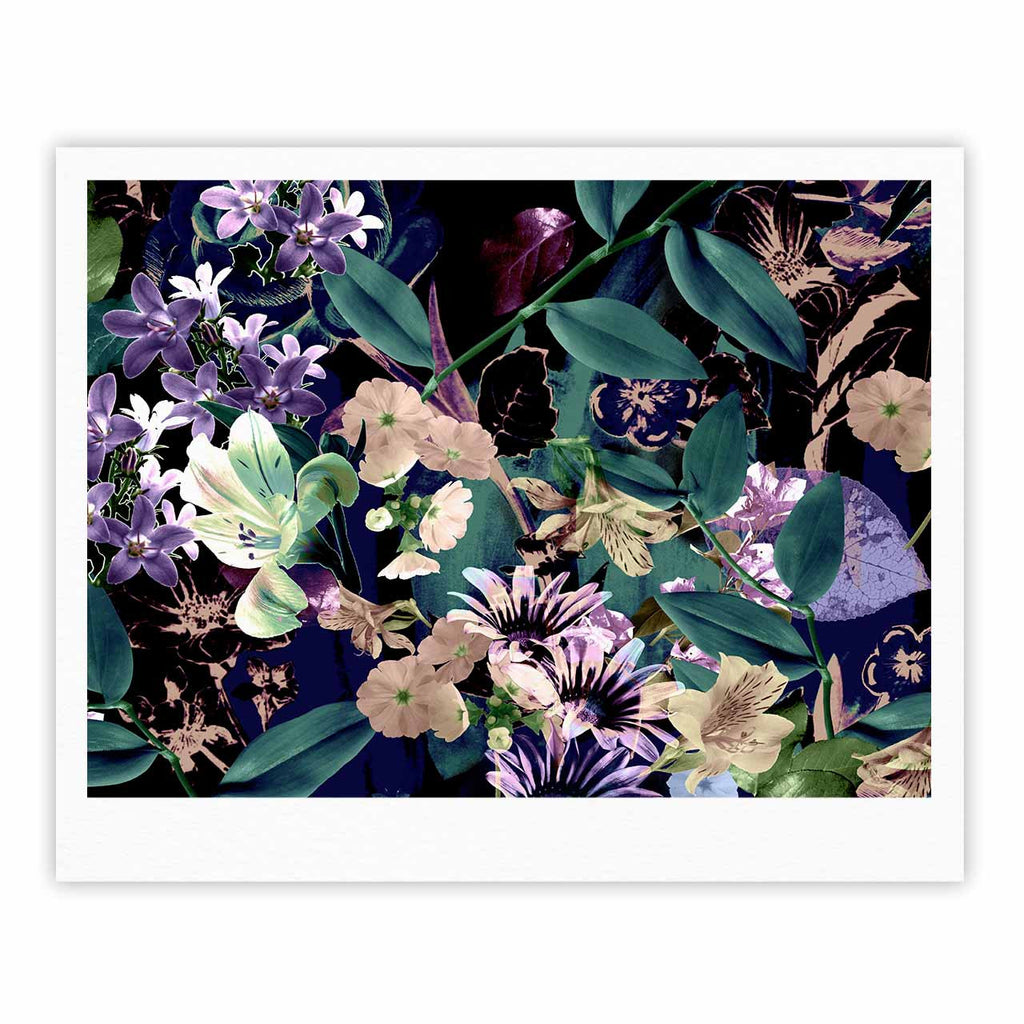 "Victoria Krupp ""Midnight Garden"" Black Multicolor Digital Fine Art Gallery Print"