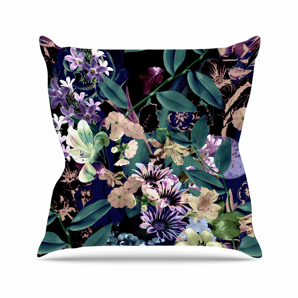 "Victoria Krupp ""Midnight Garden"" Black Multicolor Digital Throw Pillow"