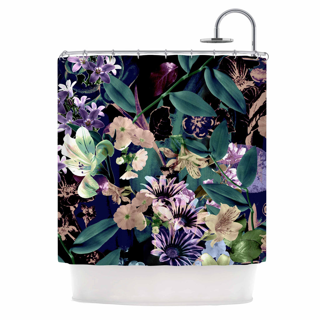 "Victoria Krupp ""Midnight Garden"" Black Multicolor Digital Shower Curtain"