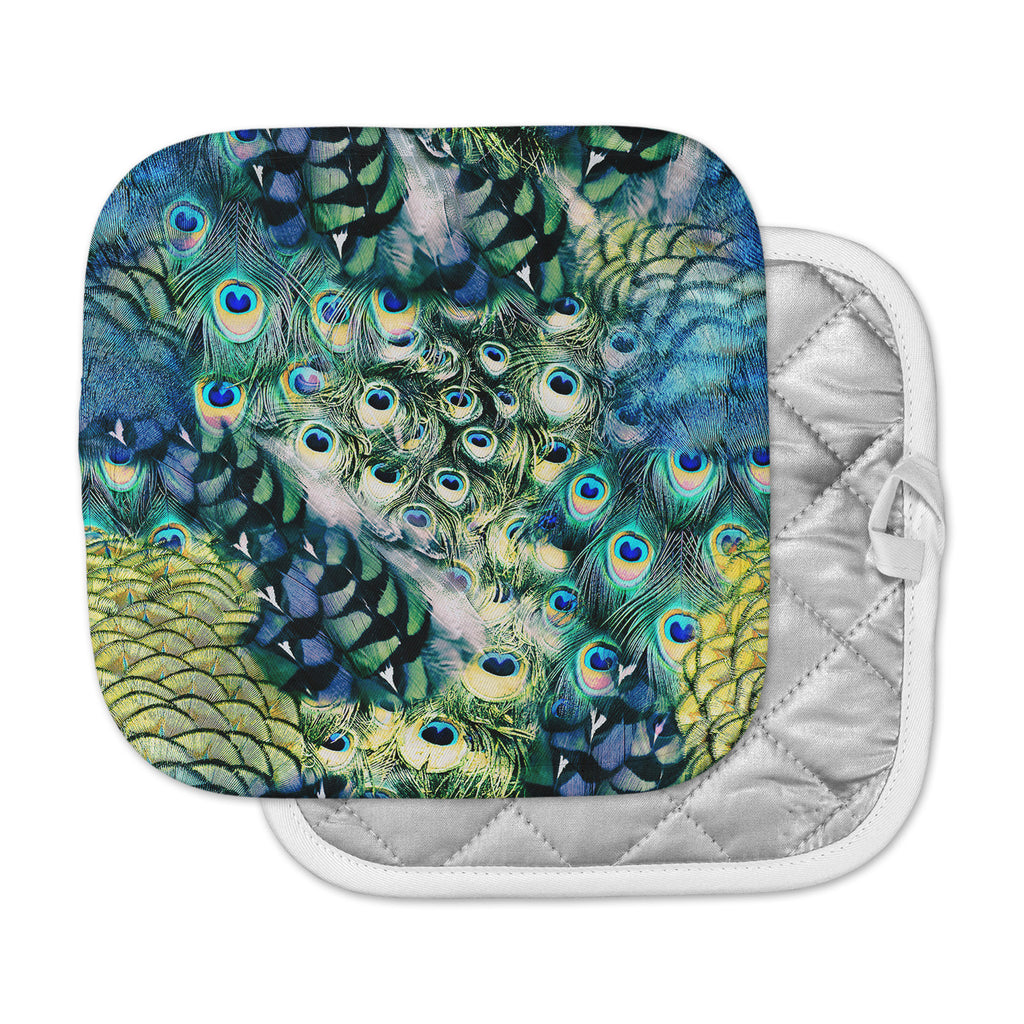 "Victoria Krupp ""Feather Mix"" Blue Teal Digital Pot Holder"