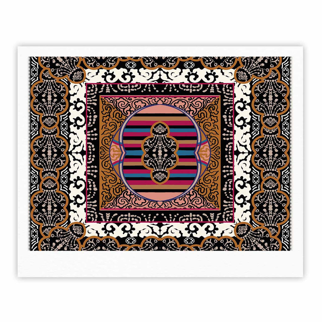 "Victoria Krupp ""Tibet Mandala"" Black White Illustration Fine Art Gallery Print"
