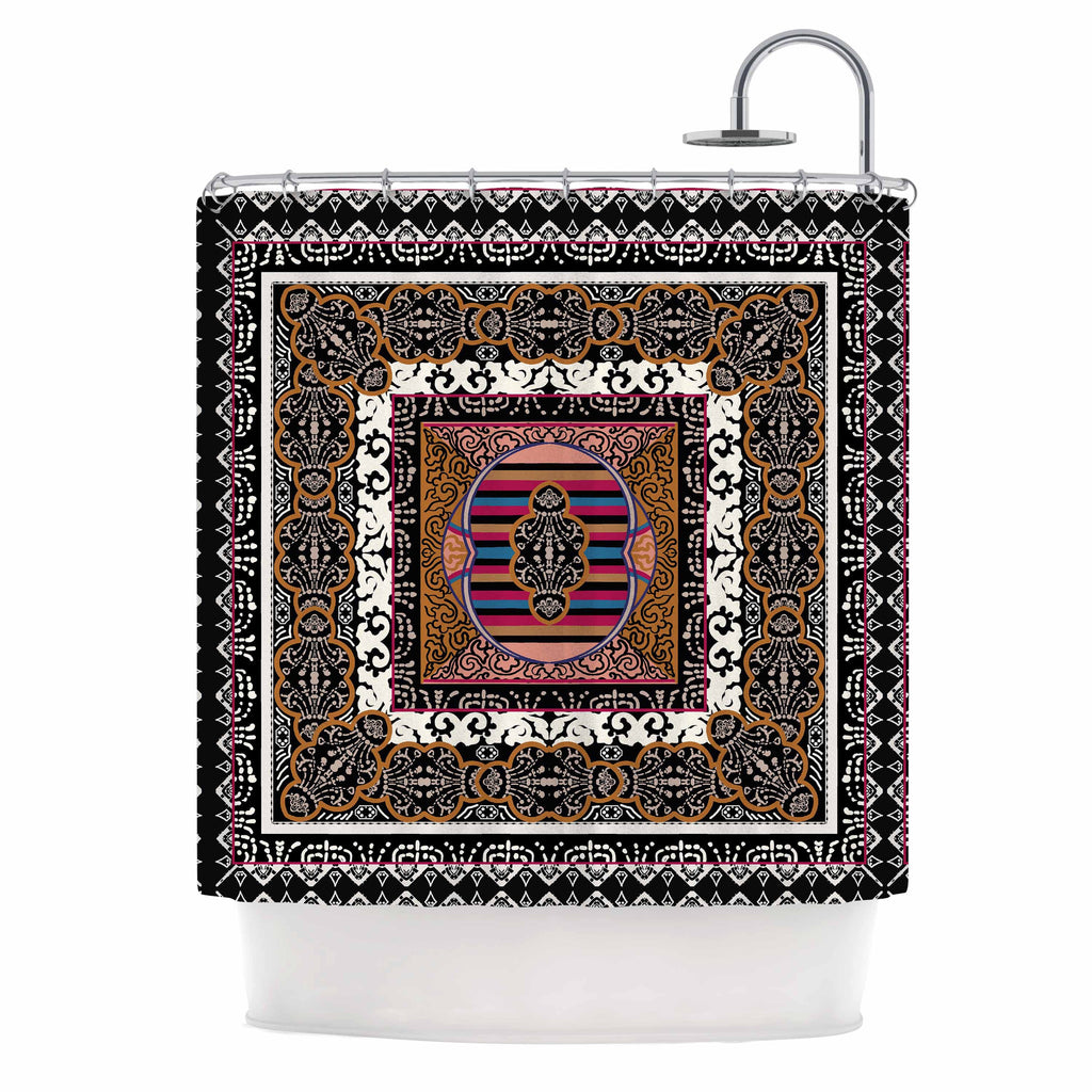 "Victoria Krupp ""Tibet Mandala"" Black White Illustration Shower Curtain"