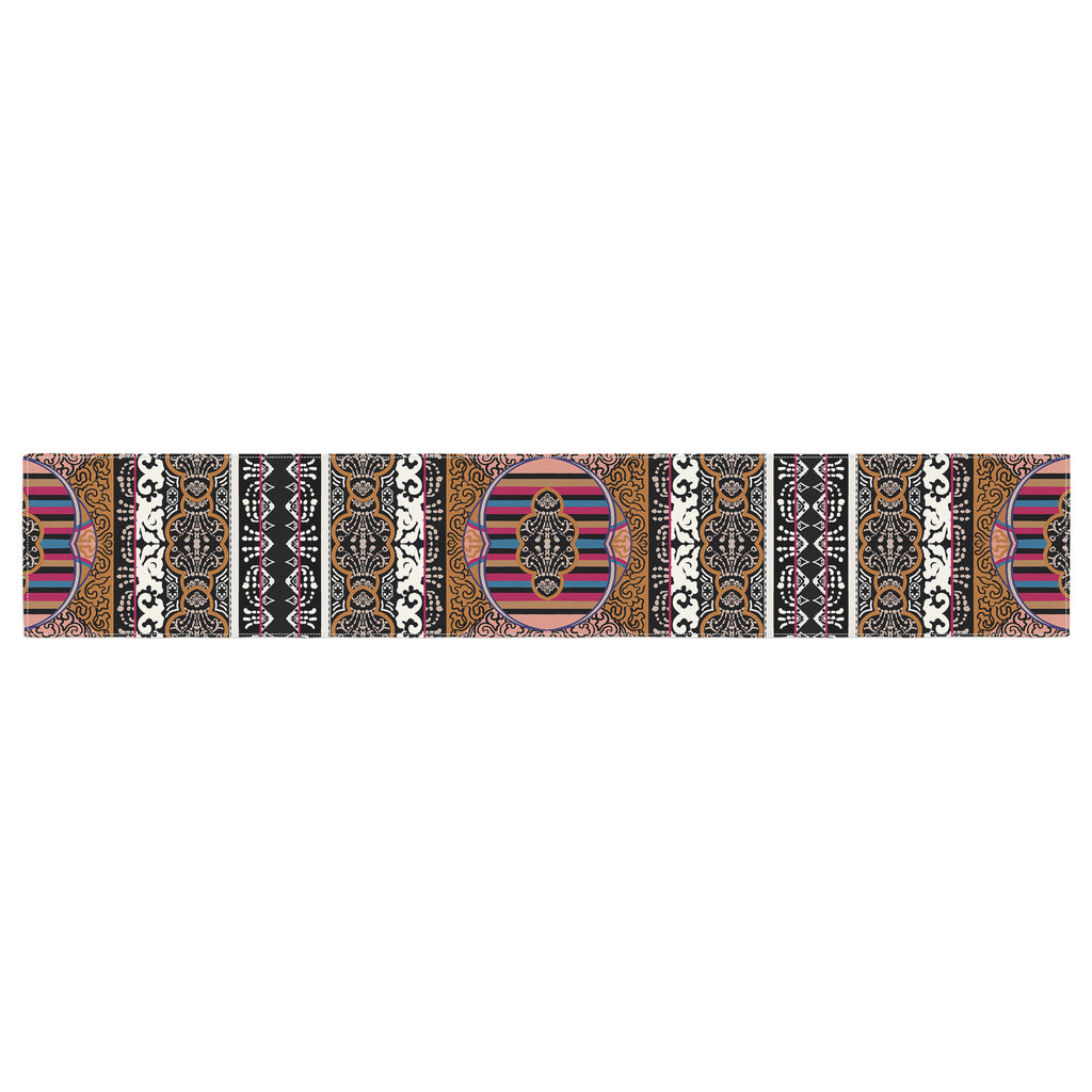 "Victoria Krupp ""Tibet Mandala"" Black White Illustration Table Runner"