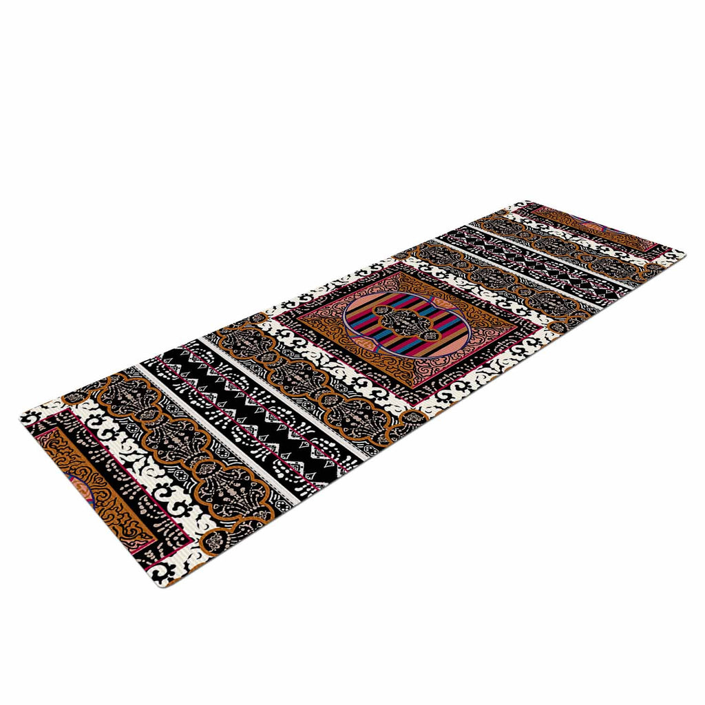 "Victoria Krupp ""Tibet Mandala"" Black White Illustration Yoga Mat"