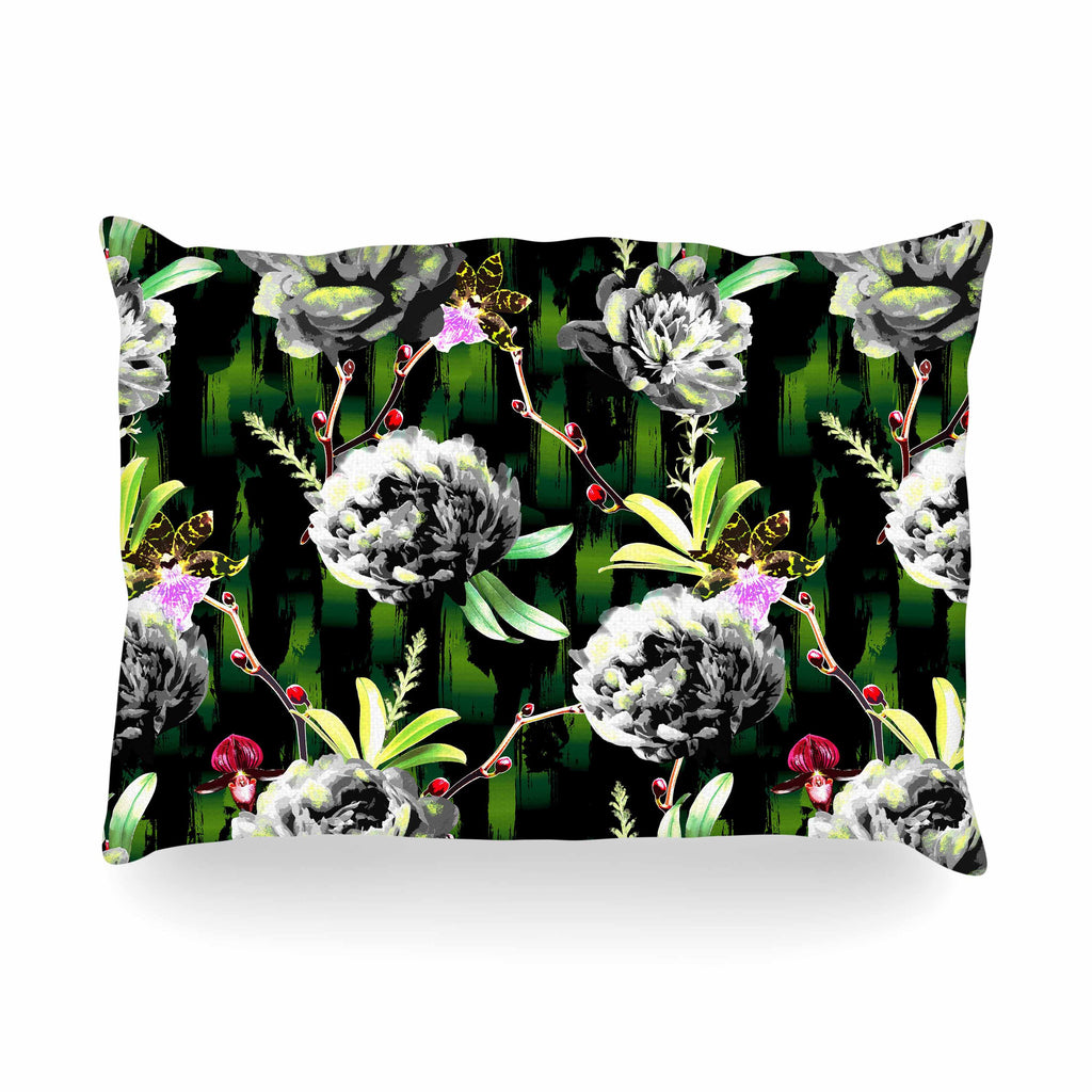 "Victoria Krupp ""Twilight Peonies"" Black Green Digital Oblong Pillow"