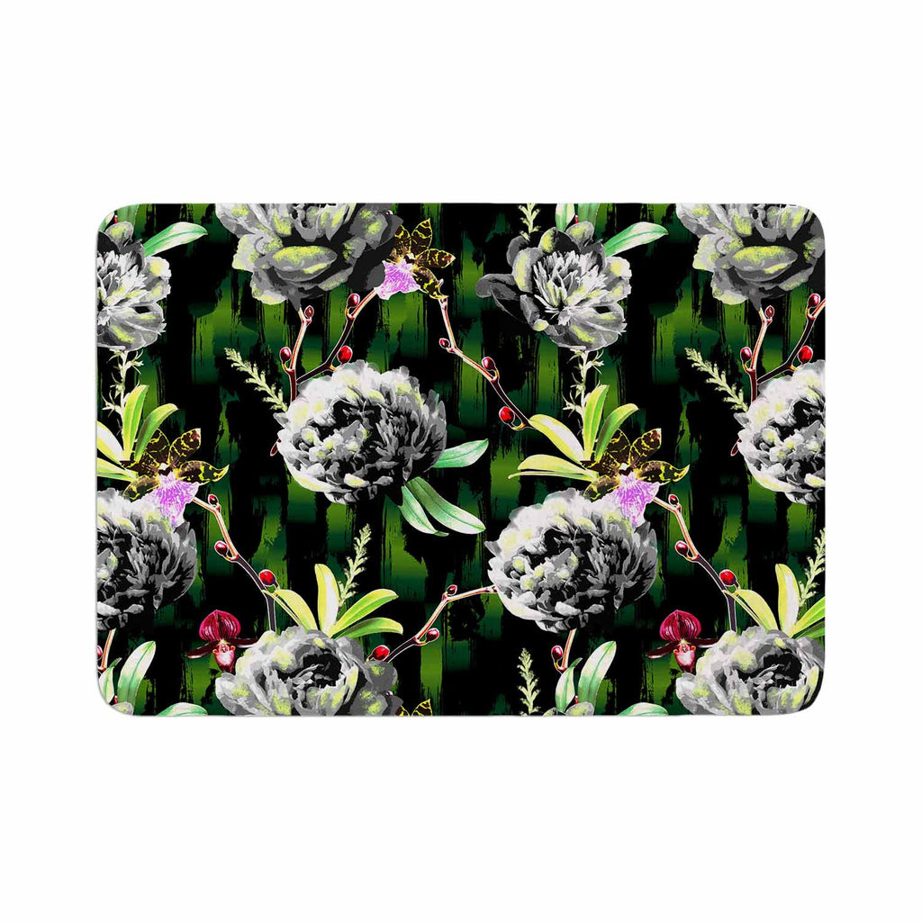 "Victoria Krupp ""Twilight Peonies"" Black Green Digital Memory Foam Bath Mat"