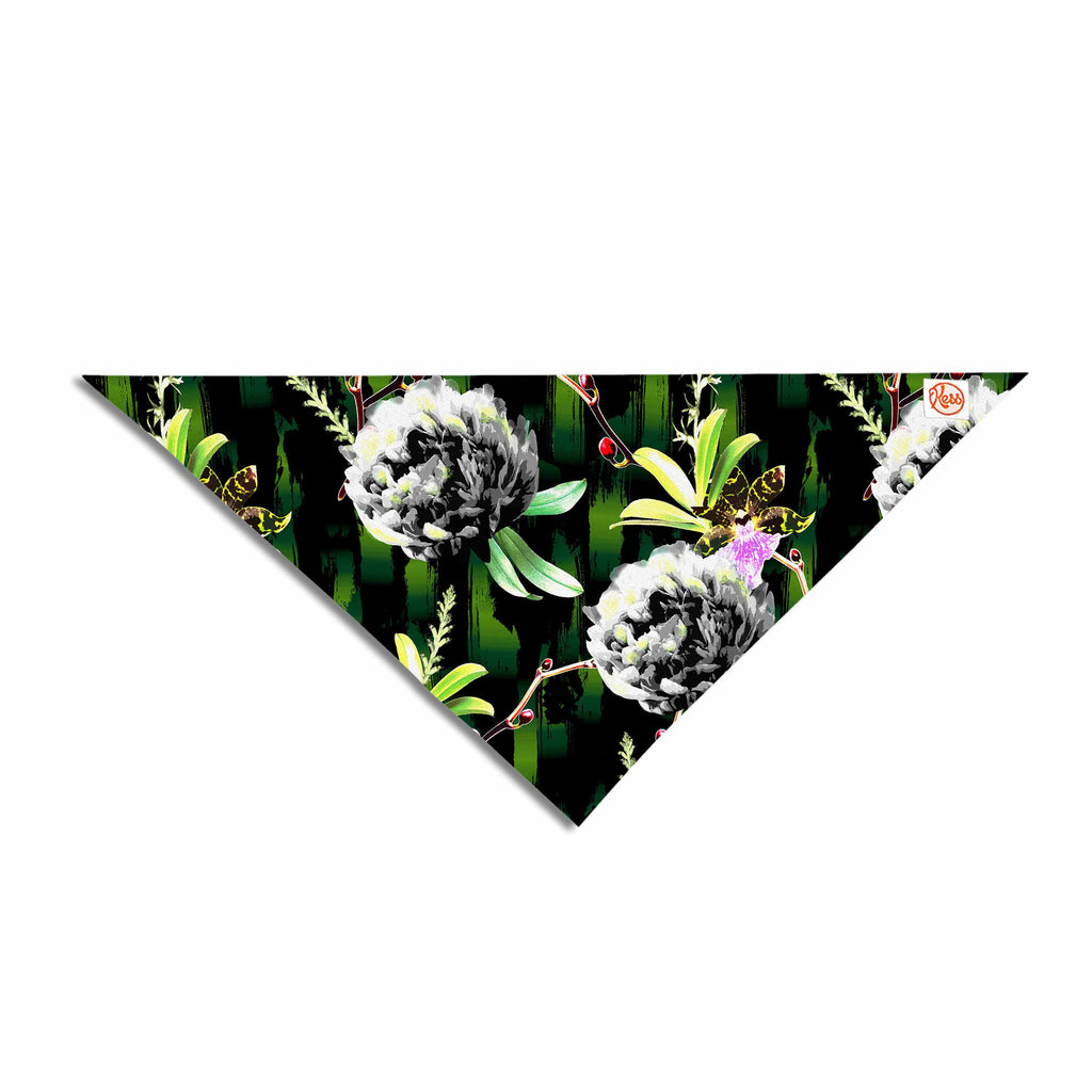 "Victoria Krupp ""Twilight Peonies"" Black Green Digital Pet Bandana"