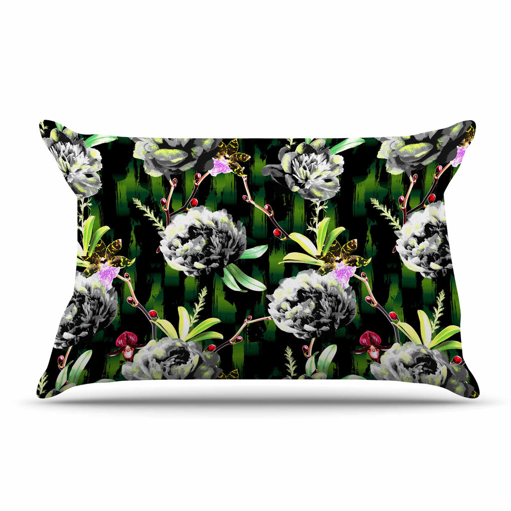 "Victoria Krupp ""Twilight Peonies"" Black Green Digital Pillow Sham"