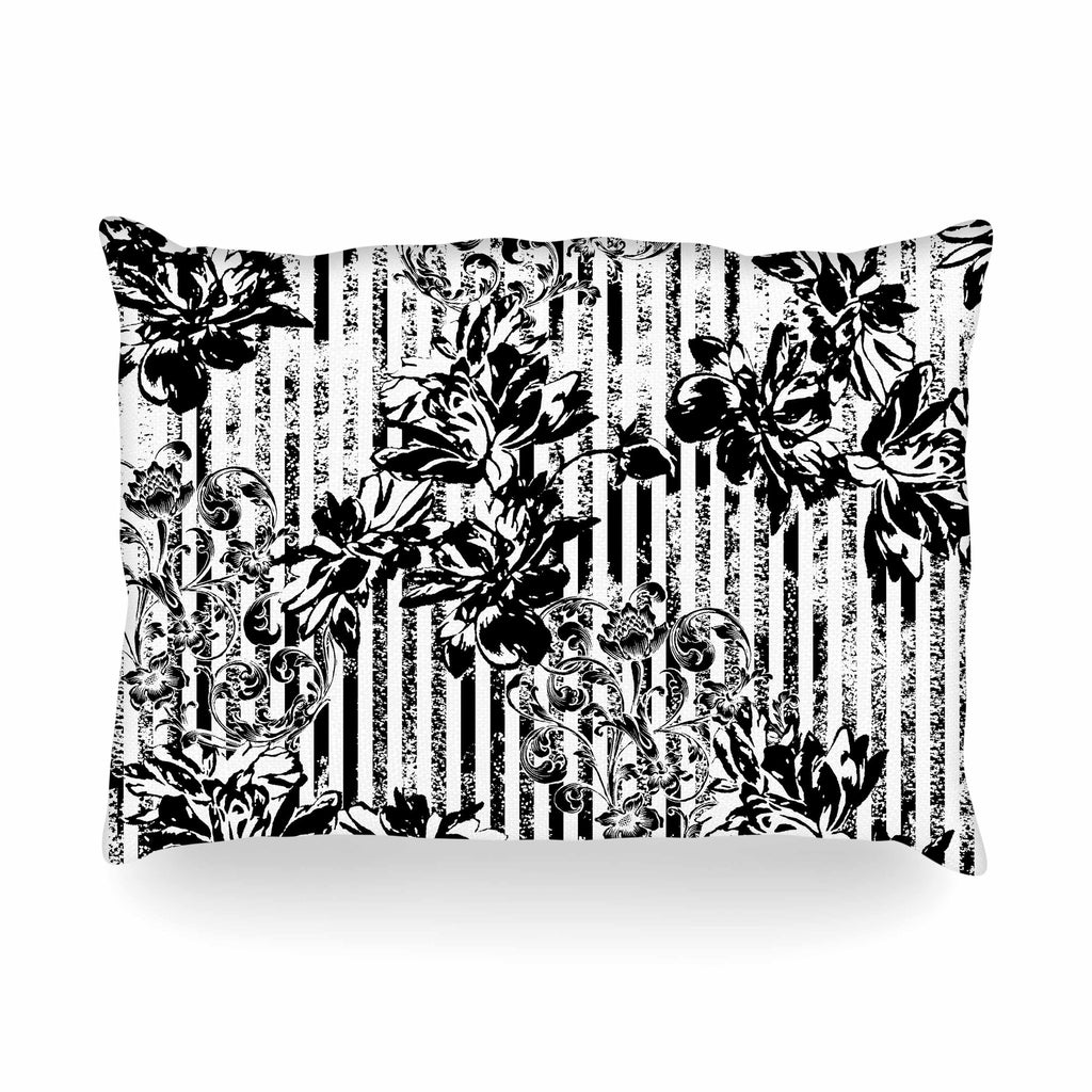 "Victoria Krupp ""Stripes And Flowers"" Black White Digital Oblong Pillow"