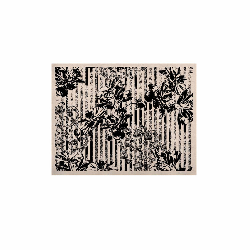 "Victoria Krupp ""Stripes And Flowers"" Black White Digital KESS Naturals Canvas (Frame not Included)"