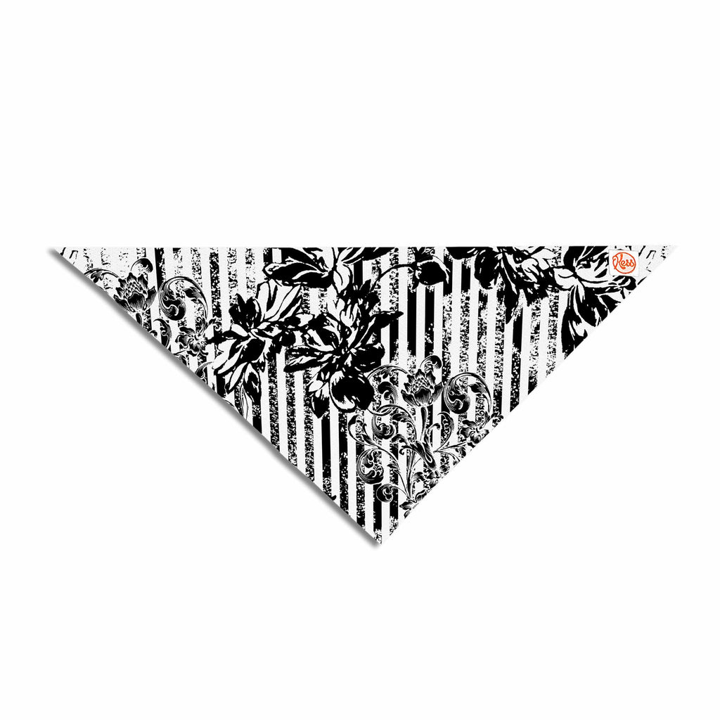 "Victoria Krupp ""Stripes And Flowers"" Black White Digital Pet Bandana"