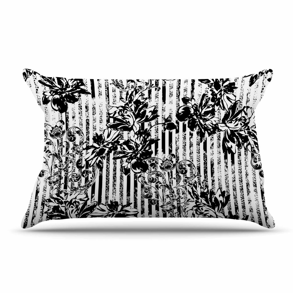 "Victoria Krupp ""Stripes And Flowers"" Black White Digital Pillow Sham"