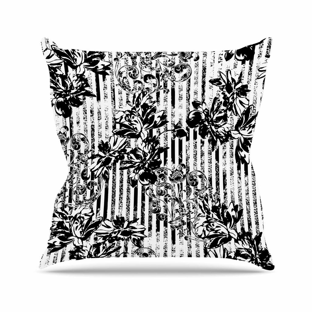 "Victoria Krupp ""Stripes And Flowers"" Black White Digital Outdoor Throw Pillow"