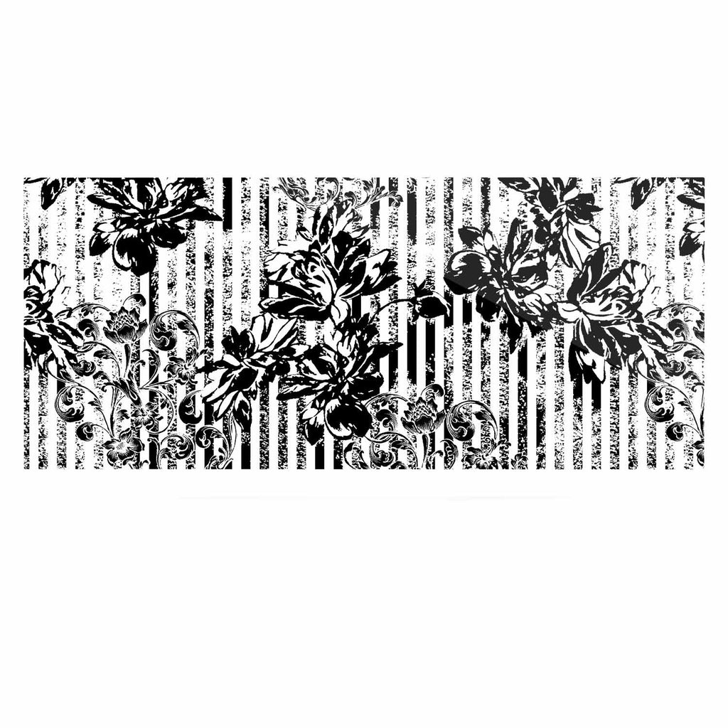 "Victoria Krupp ""Stripes And Flowers"" Black White Digital Luxe Rectangle Panel"