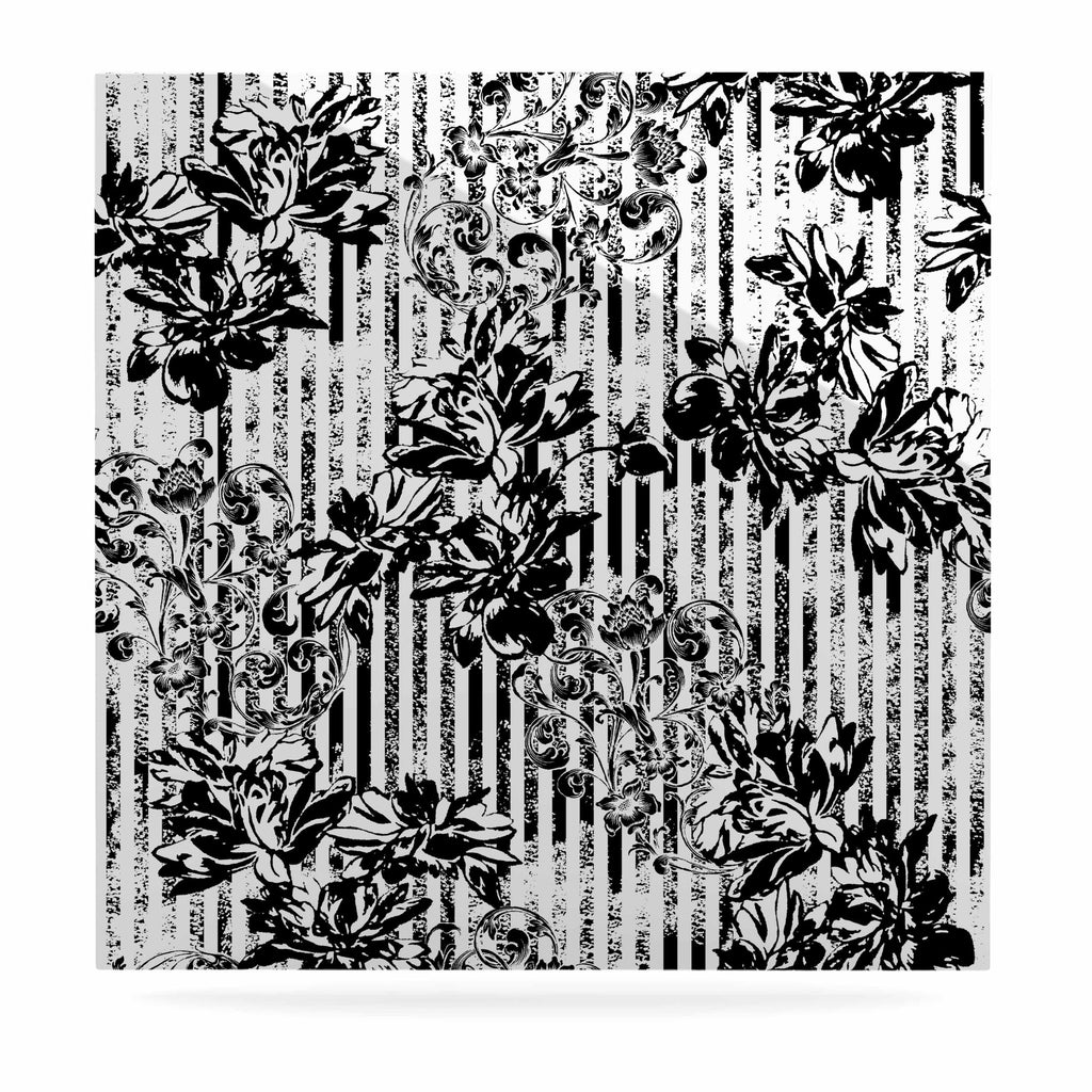 "Victoria Krupp ""Stripes And Flowers"" Black White Digital Luxe Square Panel"