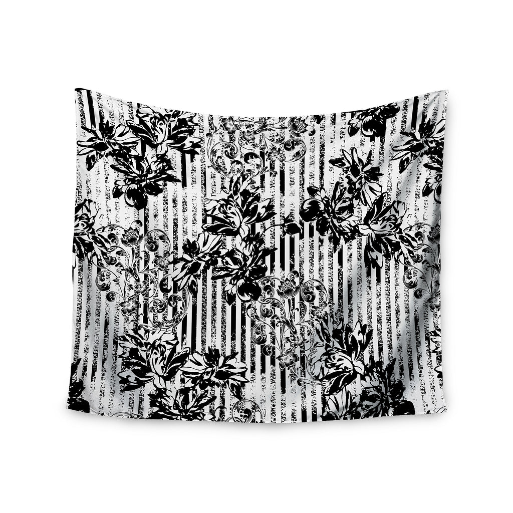 "Victoria Krupp ""Stripes And Flowers"" Black White Digital Wall Tapestry - KESS InHouse  - 1"