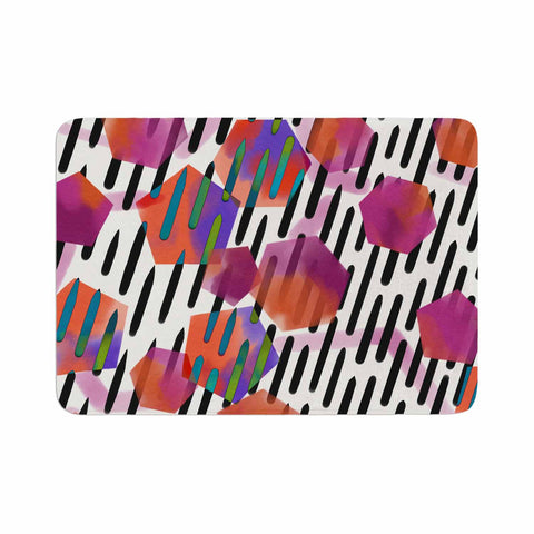 "Victoria Krupp ""Geo Shapes"" Magenta Black Watercolor Memory Foam Bath Mat"
