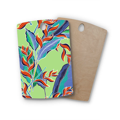 "Victoria Krupp ""Hawaiian Floral"" Green Multicolor Floral Nature Illustration Vector Rectangle Wooden Cutting Board"