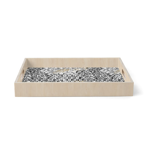 "Victoria Krupp ""Tile Dream"" Black White Geometric Ethnic Digital Illustration Birchwood Tray"