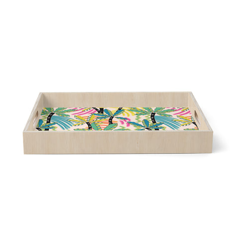 "Victoria Krupp ""Exotiques"" Multicolor White Nature Travel Digital Painting Birchwood Tray"