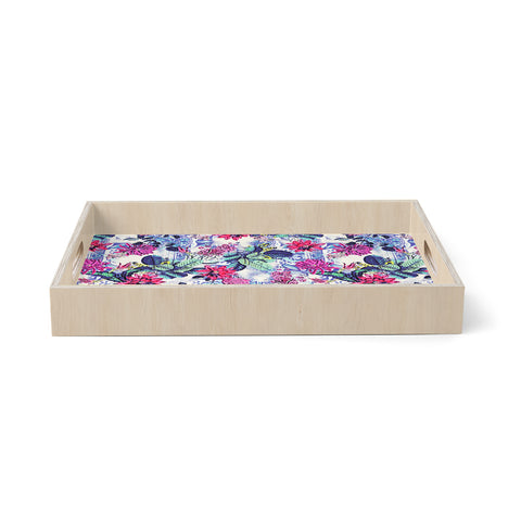 "Victoria Krupp ""Tropical Mix"" White Multicolor Nature Floral Illustration Digital Birchwood Tray"