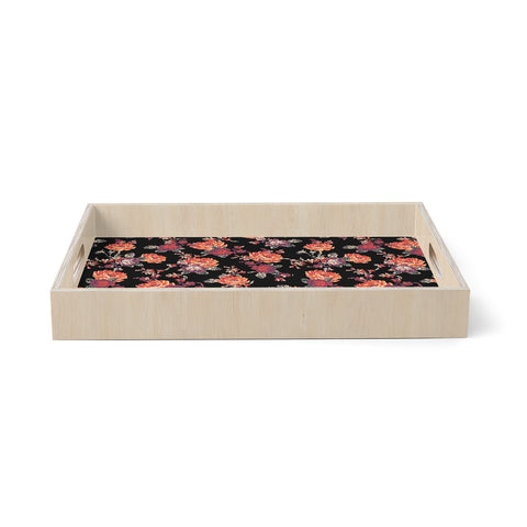 "Victoria Krupp ""MISTY FLORAL"" Black Red Floral Pattern Digital Illustration Birchwood Tray"