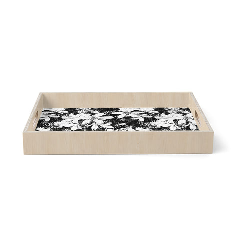 "Victoria Krupp ""Touch Bouquet"" Black White Floral Pattern Digital Illustration Birchwood Tray"