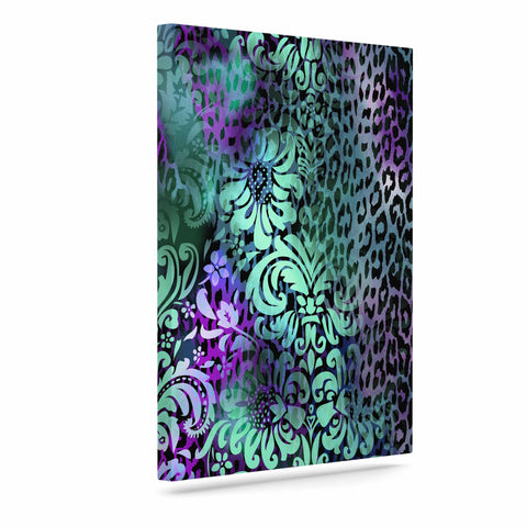 "Victoria Krupp ""Baroque Animal"" Purple Teal Fantasy Animals Digital Illustration Art Canvas"